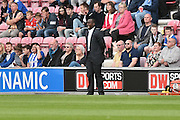 Queens Park Rangers Manager, Jimmy Floyd Hasselbaink during the EFL Sky Bet Championship match between Wigan Athletic and Queens Park Rangers at the DW Stadium, Wigan, England on 27 August 2016. Photo by Mark Pollitt.