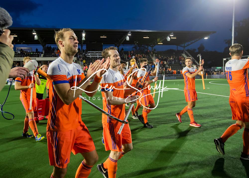 AMSTELVEEN - Billy Bakker (Ned) , Seve van Ass (Ned) ,   na   de tweede  Olympische kwalificatiewedstrijd hockey mannen ,  Nederland-Pakistan (6-1). Oranje plaatst zich voor de Olympische Spelen 2020.   COPYRIGHT KOEN SUYK