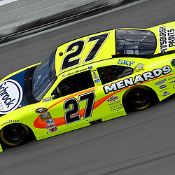April 16, 2011; Talladega, AL, USA; NASCAR Sprint Cup Series driver Paul Menard (27) during qualifying for the Aarons 499 at Talladega Superspeedway.   Mandatory Credit: Derick E. Hingle