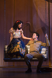 "© Licensed to London News Pictures. 16/10/2013. London, England. Pictured: Siubhan Harrison as Lorene and Robert Lonsdale as Prewitt. The Musical ""From Here to Eternity"" opens at the Shaftesbury Theatre on 23 October 2013 starring Darius Campbell, Siubhan Harrison, Robert Lonsdale and Rebecca Thornhill. This brand new musical is directed by Tamara Harvey and lyrics by Tim Rice, music by Stuart Brayson and script by Bill Oakes. Photo credit: Bettina Strenske/LNP"