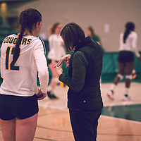 Head Coach, Melanie Sanford of the Regina Cougars during the Women's Volleyball home game on Fri Jan 25 at Centre for Kinesiology, Health & Sport. Credit: Arthur Ward/Arthur Images