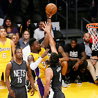 15 November 2016: Los Angeles Lakers forward Julius Randle (30) goes for the layup against Brooklyn Nets forward Luis Scola (4) during the LA Lakers 125-118 victory over the Brooklyn Nets, at the Staples Center, Los Angeles, California, USA.