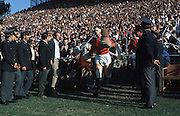 LIONS CAPTAIN WILLIE-JOHN McBRIDE LEADS OUT THE VICTORIOUS TEAM DURING THE 1974 TEST SERIES AGAINST SOUTH AFRICA..SOUTH AFRICA V LIONS, ..LIONS TOUR TO SOUTH AFRICA 1974.