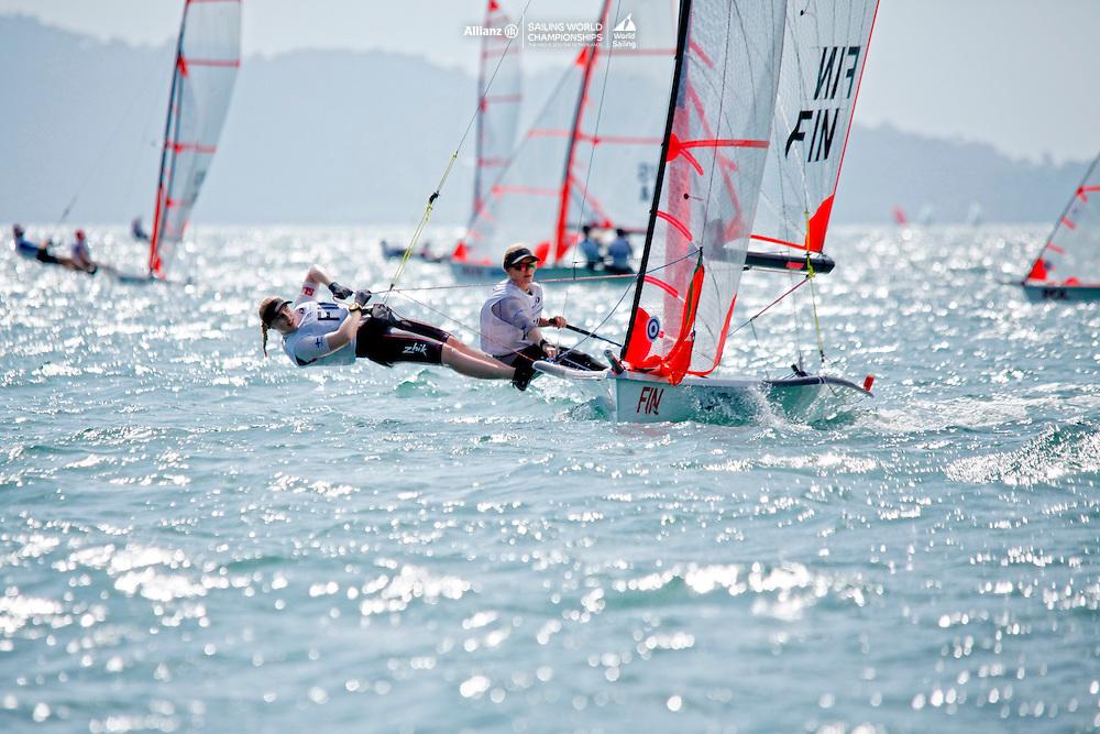 Finland29erWomenCrewFINVH7VeeraHokka<br />Finland29erWomenHelmFINSK11SirreKronl&ouml;f<br /><br />Day1, 2015 Youth Sailing World Championships,<br />Langkawi, Malaysia