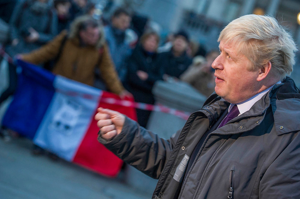 Nick Clegg and Boris Johnson (pictured)attend to show solidarity. Je suis Charlie/I am Charlie - A largely silent (with the occasional rendition of the Marseilaise)gathering in solidarity with the march in Paris today.  Trafalgar Square, London, UK 11 Jan 2015Guy Bell, 07771 786236, guy@gbphotos.com