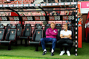 Manchester City manager Pep Guardiola sat in the dugout before the Premier League match between Bournemouth and Manchester City at the Vitality Stadium, Bournemouth, England on 26 August 2017. Photo by Graham Hunt.