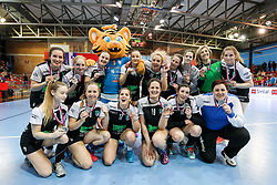 Players of RK Zagorje with teamphoto for second place after handball match between RK Zagorje and RK Krim Mercator in Final game of Slovenian Women Handball Cup 2017/18, on April 1, 2018 in Park Kodeljevo, Ljubljana, Slovenia. Photo by Matic Klansek Velej / Sportida