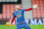 Southampton goalkeeper Fraser Forster warming up before the Barclays Premier League match between Bournemouth and Southampton at the Goldsands Stadium, Bournemouth, England on 1 March 2016. Photo by Graham Hunt.