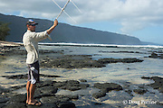 NOAA researcher Mark Sullivan uses a VHF radio receiver and antenna to try to locate a Hawaiian monk seal carrying a Crittercam and tracking instrumentation package attached a few days earlier by NOAA scientists, Kalaupapa Peninsula, Molokai, Hawaii, USA