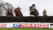 Marc Goldstein (White Cap) riding Leg Iron clears an early fence before winning the J H Builders National Hunt Novices Hurdle at Plumpton Racecourse - 13 Dec 2015