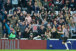 NEWCASTLE-UPON-TYNE, ENGLAND - Saturday, May 4, 2019: Newcastle United's Christian Atsu celebrates scoring the equalising first goal during the FA Premier League match between Newcastle United FC and Liverpool FC at St. James' Park. (Pic by David Rawcliffe/Propaganda)