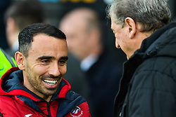 Swansea City caretaker manager Leon Britton and Crystal Palace manager Roy Hodgson greet before the game - Mandatory by-line: Craig Thomas/JMP - 23/12/2017 - FOOTBALL - Liberty Stadium - Swansea, England - Swansea City v Crystal Palace - Premier League