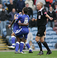 Photo: Paul Thomas.<br /> Burnley v Cardiff. Coca Cola Championship.<br /> 10/09/2005.<br /> <br /> Cameron Jerome and Joe Ledley celebrate referee Mr P. Walton awarding a penalty to Cardiff.