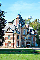 Chateau de Sauvage, France. Historic Louis IX castle.  Main building with typical architecture of that time.
