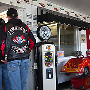 Members of the Iron Pigs motorcycle club at the Polk-a-Dot drive in on historic U.S. Route 66. The Mother Road  starts in Chicago traveling through 6 states and ending in Santa Monica, California.<br /> Photography by Jose More