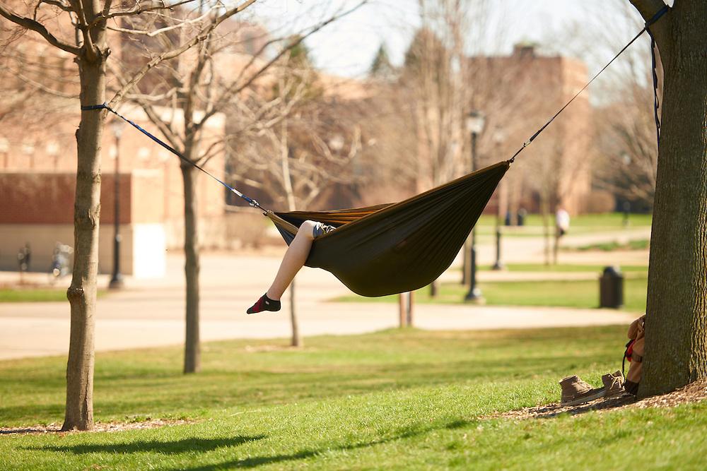 Activity; Relaxing; Location; Outside; Spring; April; Time/Weather; sunny; UWL UW-L UW-La Crosse University of Wisconsin-La Crosse; Hammock