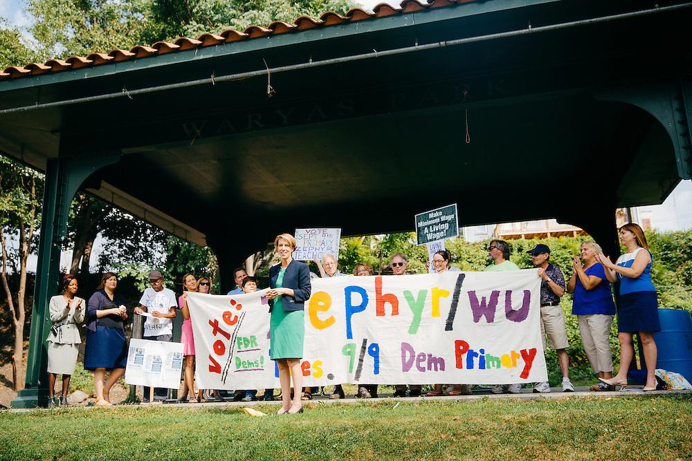 POUGHKEEPSIE, NY - SEPTEMBER 05: New York State Democratic gubernatorial hopeful Zephyr Teachout (D) speaks to supporters at Victor C. Waryas Park on September 05, 2014 in Poughkeepsie, New York. (PHOTO CREDIT: EricMTownsend.com)