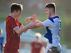 BLACKBURN, ENGLAND - Saturday, January 6, 2018: Liverpool's Morgan Boyes and Blackburn Rovers' Frank Jones clash during an Under-18 FA Premier League match between Blackburn Rovers FC and Liverpool FC at Brockhall Village Training Ground. (Pic by David Rawcliffe/Propaganda)