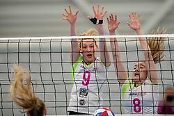 25-10-2017 NED: Sliedrecht Sport - Eurosped TVT, Sliedrecht<br /> Sliedrecht Sport wint met 3-1 van Eurosped / /Laura Beach #9 of Eurosped, Bo Duteweert #8 of Eurosped