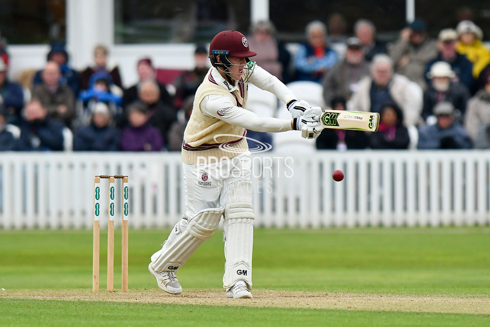 Dom Bess of Somerset batting during the third day of the Specsavers County Champ Div 1 match between Somerset County Cricket Club and Yorkshire County Cricket Club at the Cooper Associates County Ground, Taunton, United Kingdom on 29 April 2018. Picture by Graham Hunt.