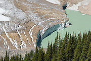 Cavell Glacier and Cavell Pond on Mount Edith Cavell, Jasper National Park, Alberta, Canada. Jasper is part of the Canadian Rocky Mountain Parks World Heritage Site declared by UNESCO in 1984.