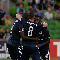 Leroy George of Melbourne Victory FC celebrates scoring the equaliser 2:2 at half time in the AFC Champions League, 13 February 2018, Group F, Melbourne Victory FC v Ulsan Hyundai at Melbourne Rectangular Stadium (Aami Park), Australia |© Mark Avellino | SportPix.org.uk