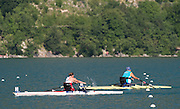 Aiguebelette, FRANCE. GBR ASW1X, Rachel MORRIS leads the field home in the first repechage, Friday Para Rowing. ASW1X Repechage at the 2014 FISA World Cup II, Friday Para Rowing ASW1X Repechage at the 2014 FISA World Cup II, Friday Para Rowing ASW1X Repechage at the 2014 FISA World Cup II, 18:20:29  Friday  20/06/2014. [Mandatory Credit; Peter Spurrier/Intersport-images]