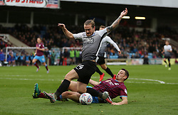 Jack Marriott of Peterborough United is tackled by Murray Wallace of Scunthorpe United - Mandatory by-line: Joe Dent/JMP - 21/10/2017 - FOOTBALL - Glanford Park - Scunthorpe, England - Scunthorpe United v Peterborough United - Sky Bet League One
