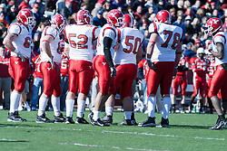 28 October 2006: Penguin offense prepare to huddle. Youngstown State turned off over 15,000 fans as the win blew their way, cooling off Illinois State 27-13. Nationally ranked teams Youngstown State Penguins and Illinois State Redbirds competed at Hancock Stadium on the campus of Illinois State University in Normal Illinois.<br />