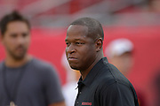 Washington Redskins assistant coach Raheem Morris prior to an NFL preseason game against the Tampa Bay Buccaneers at Raymond James Stadium on Aug. 29, 2013 in Tampa, Florida. <br /> <br /> &copy;2013 Scott A. Miller