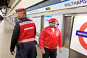 Sadia Khan at London's Night Tube launch at Brixton tube station, London, Great Britain <br /> 19th August 2016 <br /> <br /> Guardian Angels on patrol at Walthamstow station <br /> <br /> Sadia Khan, mayor of London,  launched the first night tube service and travelled on a tube train between Brixton and Walthamstow on the Victoria Line. <br />  <br /> He launched the first 24 hour Friday and Saturday night services on the Central and Victoria lines <br /> <br /> Photograph by Elliott Franks <br /> Image licensed to Elliott Franks Photography Services