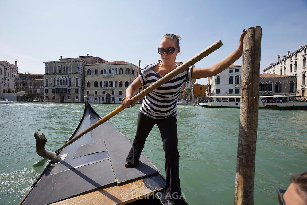 Giorgia Boscolo, Venice's first Gondoliera, here rowing the Traghetto San Samuele - Ca' Rezzo?nico.