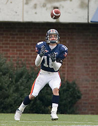 Virginia Cavaliers  WR Simon Manka (18) brings in the games only score -- a touchdown reception from QB Soctt Deke.  The University of Virginia Football Team played their Spring game at Scott Stadium in Charlottesville, VA on April 14, 2007.