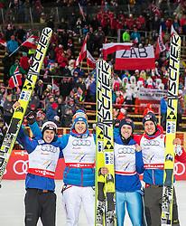 28.02.2015, Lugnet Ski Stadium, Falun, SWE, FIS Weltmeisterschaften Ski Nordisch, Skisprung, Herren Team, Finale, im Bild v.l.: Stefan Kraft (AUT), Michael Hayboeck (AUT), Manuel Poppinger (AUT) und Gregor Schlierenzauer (AUT) // f.l.: Stefan Kraft of Austria, Michael Hayboeck of Austria, Manuel Poppinger of Austria and Gregor Schlierenzauer of Austria during the Mens Team Skijumping Final of the FIS Nordic Ski World Championships 2015 at the Lugnet Ski Stadium, Falun, Sweden on 2015/02/28. EXPA Pictures © 2015, PhotoCredit: EXPA/ JFK