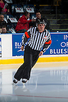 KELOWNA, CANADA - NOVEMBER 26: Referee Jordan Lightbown warms up on the ice before the start of the game between the Kelowna Rockets and the Regina Patson November 26, 2016 at Prospera Place in Kelowna, British Columbia, Canada.  (Photo by Marissa Baecker/Shoot the Breeze)  *** Local Caption ***
