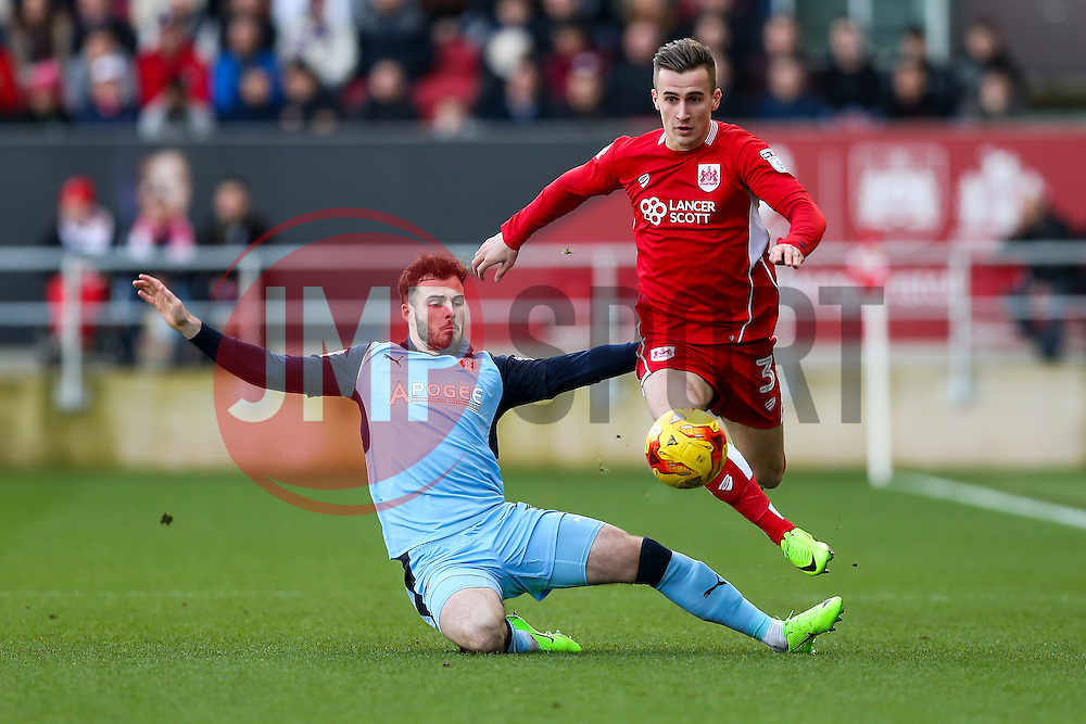 Joe Bryan of Bristol City is tackled by Anthony Forde of Rotherham United - Rogan Thomson/JMP - 04/02/2017 - FOOTBALL - Ashton Gate Stadium - Bristol, England - Bristol City v Rotherham United - Sky Bet Championship.