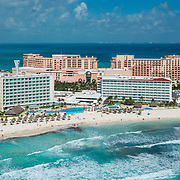 Aerial view of Punta Cancun in the hotel zone.