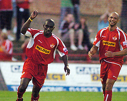 JERMAINE LIBURD CELEBRATES HIS GOAL AGAINST BIRMINGHAM CITY AFTER JUST COMING ON AS SUB (FRIENDLY) 2/8/05