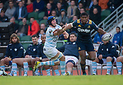 Highlanders player WAISAKE NAHOLO (R) keeps the ball clear of Racing 92 player LUC BARBA (L) during the Natixis Cup rugby match between French team Racing 92 and New Zealand team Otago Highlanders at Sui San Wan Stadium in Hong Kong.
