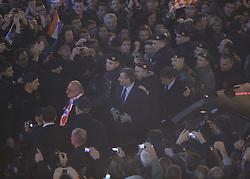16.11.2012, Hauptplatz, Zagreb, CRO, Freispruch fuer Generaele Gotovina und Markac. Das UNO-Kriegsverbrechertribunal in Den Haag hat heute in einem Berufungsverfahren die zwei zuvor zu 24 bzw. 18 Jahren Haft verurteilten kroatischen Ex-Generäle Ante Gotovina und Mladen Markac freigesprochen, Empfang der Generäle am Hauptplatz. im Bild tausende Kroaten empfangen die beiden freigesprochenen Generäle Ante Gotovina und Mladen Markac am Hauptplatz in Zagreb // thousands of Croats acquitted the two generals Ante Gotovina and Mladen Markac received at the main square in Zagreb. The UN war crimes tribunal in Hague has today acquitted on appeal the two previously sentenced to 24 and 18 years in prison for former Croatian generals Ante Gotovina and Mladen Markac, Main square, Croatia on 2012/11/16. EXPA Pictures © 2012, PhotoCredit: EXPA/ Pixsell/ Marko Lukunic..***** ATTENTION - OUT OF CRO, SRB, MAZ, BIH and POL *****