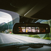 Brendan Quigley shows up in the rearview mirror on the drive back to Seward, Alaska.