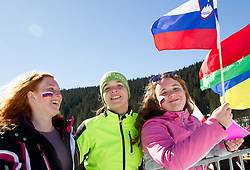 Spectators during Women 12.5 km Mass Start competition of the e.on IBU Biathlon World Cup on Sunday, March 9, 2014 in Pokljuka, Slovenia. Photo by Vid Ponikvar / Sportida