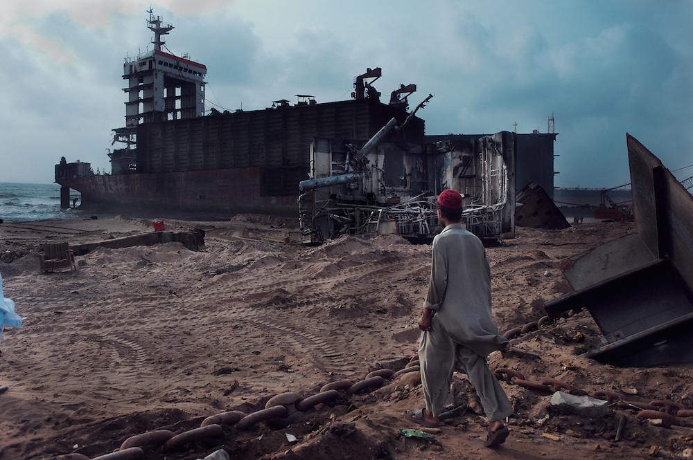 Ship breaking worker Muhammad Haleem, 25 years old at the Gaddani Ship Breaking Yard, Balochistan Province, Pakistan on August 16, 2011.