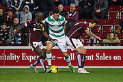 Celtic FC Midfielder Tom Rogic run through the hearts defence during the Scottish League Cup presented by Ulilita Energy quarter final match between Heart of Midlothian and Celtic at Tynecastle Stadium, Gorgie, Scotland on 28 October 2015. Photo by Craig McAllister.