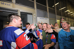 Jan Urban of Slovenia and his fans after the match at IIHF Ice-hockey World Championships Division I Group B match between National teams of Slovenia and Great Britain, on April 20, 2010, in Tivoli hall, Ljubljana, Slovenia. Slovenian defeated Great Britain 3:2 OT. (Photo by Matic Klansek Velej / Sportida)
