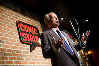8 October, 2008. New York, NY. Harry Hurt III, columnist of Executive Pursuits for The New York Times, performs as a stand-comic on the stage of the Comic Strip club in Manhattan, NY, in front of a live audience. Harry Hurt learned how to become a stand-comic training minutes before with the comic and m.c. D.F. Sweedler.  <br /> <br /> &copy;2008 Gianni Cipriano for The New York Times<br /> cell. +1 646 465 2168 (USA)<br /> cell. +1 328 567 7923 (Italy)<br /> gianni@giannicipriano.com<br /> www.giannicipriano.com