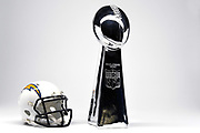 Detailed view of Los Angeles Chargers helmet and Vince Lombardi Trophy, annually awarded to the Super Bowl winner..