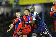 Nathaniel Mendez-Laing and Mar Antoine Fortune compete for the ball during the EFL Sky Bet League 1 match between Southend United and Rochdale at Roots Hall, Southend, England on 14 January 2017. Photo by Daniel Youngs.