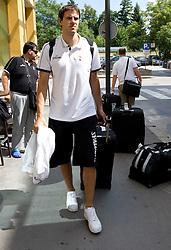 Bostjan Nachbar at arrival of Slovenian basketball team from a friendly tournament in Spain, on August 9, 2010 at City Hotel, Ljubljana, Slovenia. (Photo by Vid Ponikvar / Sportida)