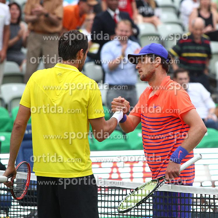 12.06.2015, Tennis Club Weissenhof, Stuttgart, GER, ATP Tour, Mercedes Cup Stuttgart, Viertelfinale, im Bild Marin Cilic ( CRO ) rechts Mischa Zverev ( GER ) nach dem Spiel // during quarter Finals of Mercedes Cup of ATP world Tour at the Tennis Club Weissenhof in Stuttgart, Germany on 2015/06/12. EXPA Pictures &copy; 2015, PhotoCredit: EXPA/ Eibner-Pressefoto/ Langer<br /> <br /> *****ATTENTION - OUT of GER*****